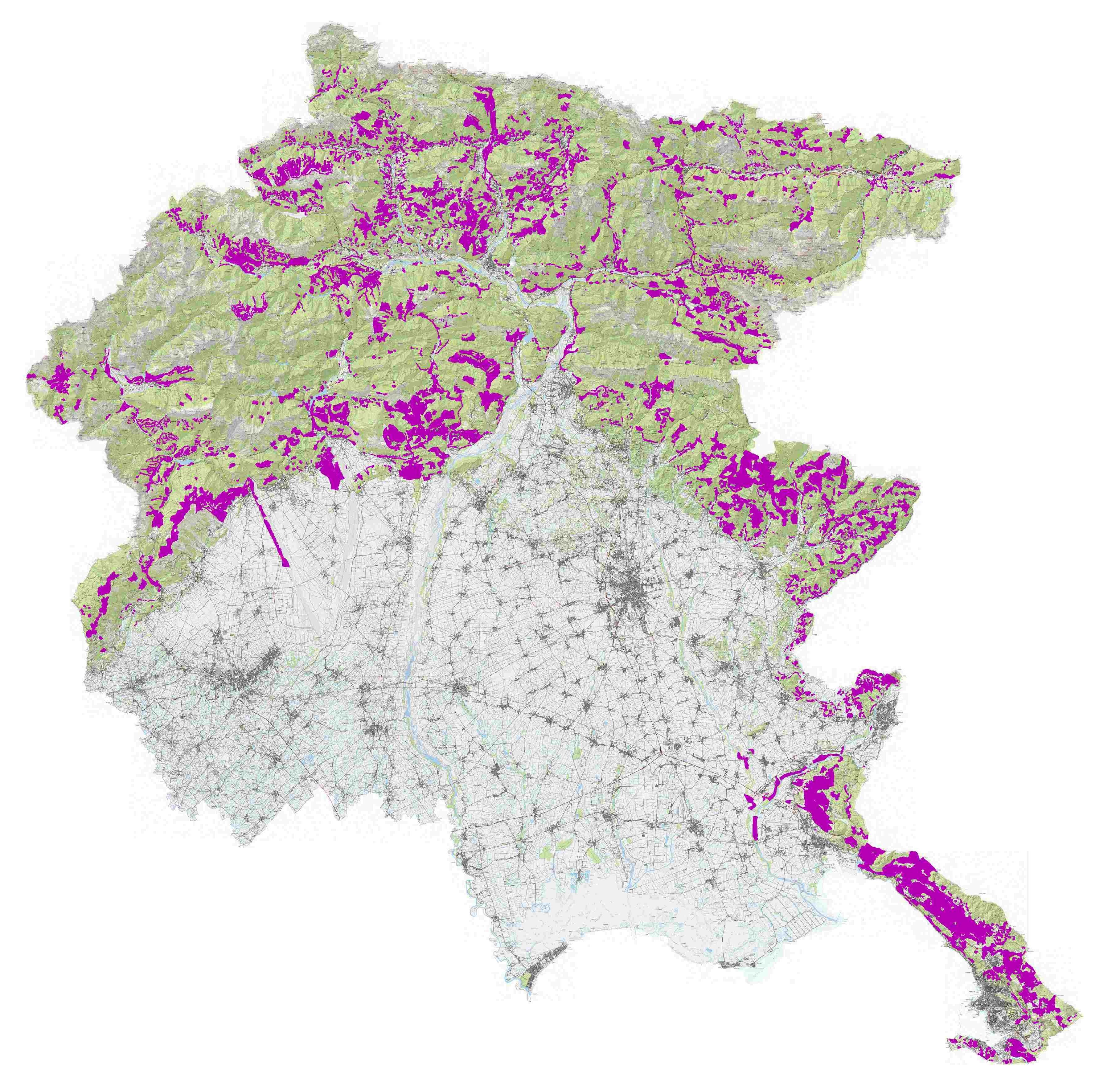 mappa delle zone potenzialmente rimosse dal vincolo idrogeologico