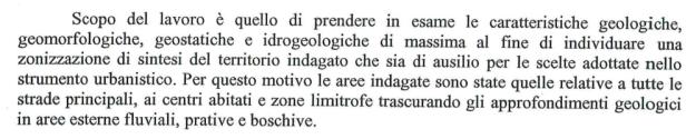 contenuto della premessa dello studio geologico relativo al PRGC di Stregna vigente
