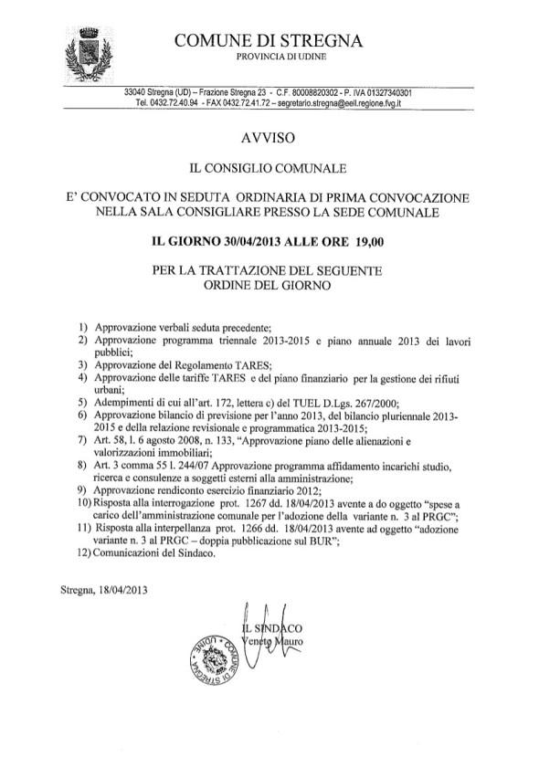 odg consiglio comunale di stregna del 30 aprile 2013