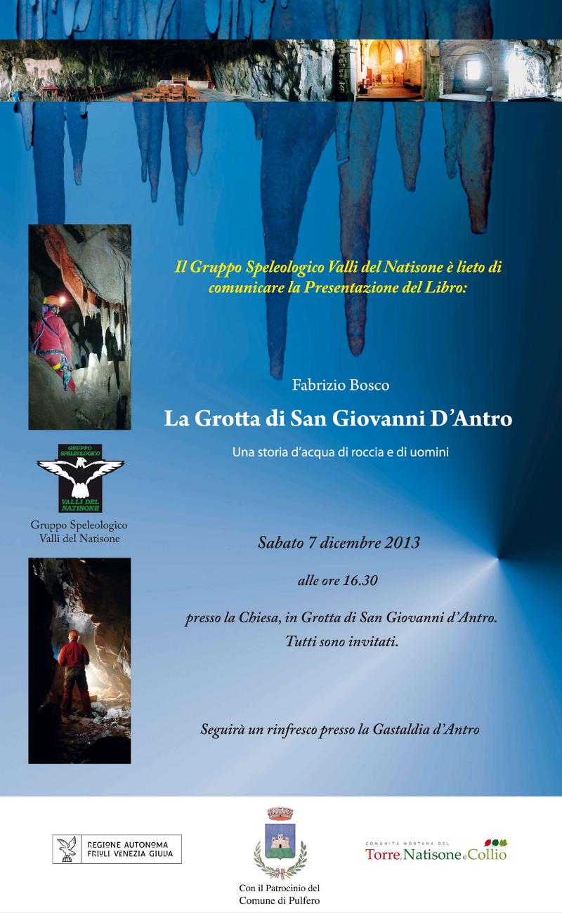 """locandina della presentazione del libro """"La Grotta di San Giovanni d"""