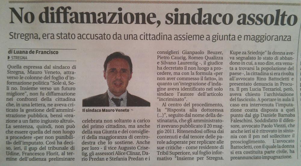 articolo del Messaggero Veneto del febbraio 2014