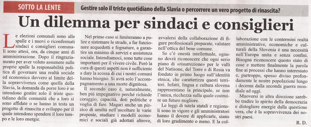 Editoriale del Dom, del 30 aprile 2014